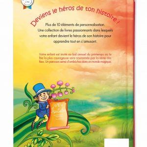verso du livre pour enfant à son prénom sur les fées