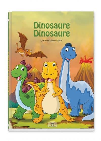 livre pour enfant avec 3 dinosaures