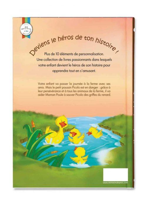 couverture verso d'un livre enfant sur le thème ferme