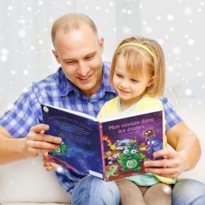 livre personnalisable fillette papa lecture