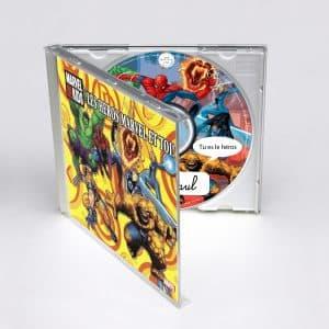 boitier CD coloré Héros Marvel en 3D