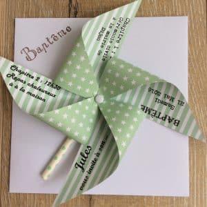 faire part papier en forme de moulin vert et blanc
