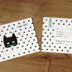 carton invitation anniversaire enfant noir et blanc - tête de chat noir