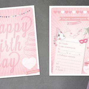 carton invitation anniversaire enfant colori fête rose