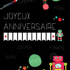 carton invitation anniversaire enfant colori noir et couleurs thème robots