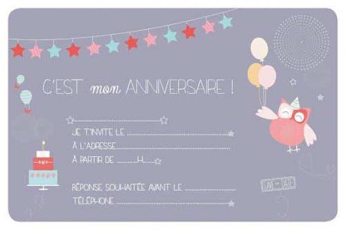 carton invitation anniversaire enfant chouette recto