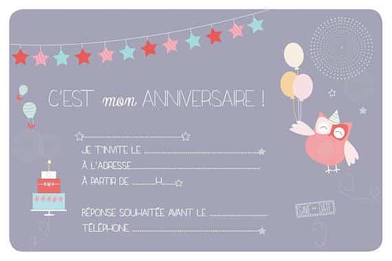 invitations anniversaire enfant chouette 8 exemplaires