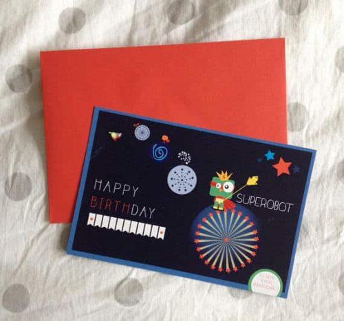 carton invitation anniversaire enfant super robot avec enveloppe rouge