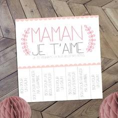 """carte pour la fête des mères composée de 7 messages """"bons pour"""""""