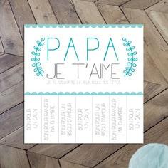 """carte pour la fête des pères composée de 7 messages """"bons pour"""""""