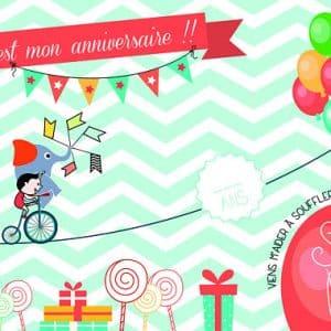 invitation colorée pour anniversaire enfant