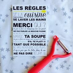 affiche décorative sur les règles à respecter dans la cuisine