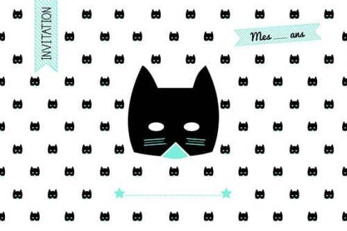 carton invitation anniversaire enfant tête de chat en noir sur fonds blanc