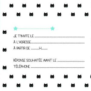 carton invitation anniversaire enfant verso tête de chat noir
