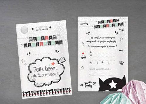 carton invitation anniversaire enfant colori noir et blanc