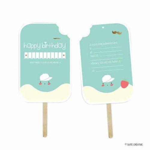 cartons anniversaire en forme de glace esquimau bleu