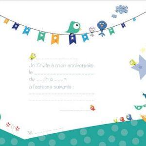 carton invitation anniversaire enfant colori vert - oiseaux