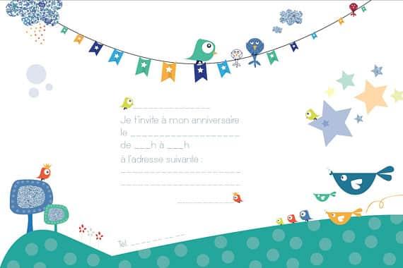 invitations anniversaire enfant oiseaux 8 exemplaires. Black Bedroom Furniture Sets. Home Design Ideas