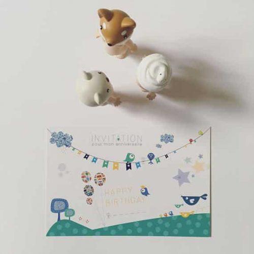 carton invitation anniversaire enfant colori vert