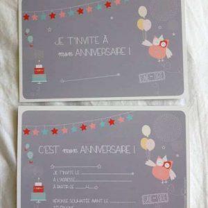 carton invitation anniversaire enfant chouette