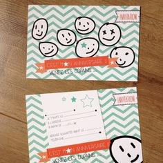 carton invitation anniversaire enfant avec têtes smiley