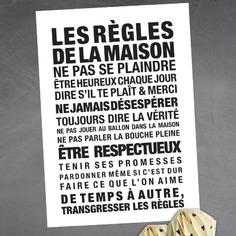 affiche décorative sur les règles de la maison