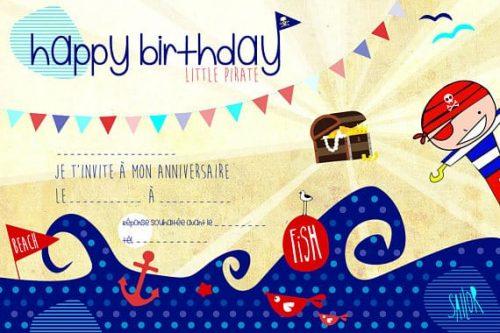 carton invitation anniversaire enfant sur le thème des pirates