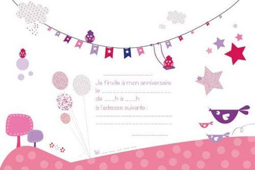 carton invitation anniversaire enfant colori rose