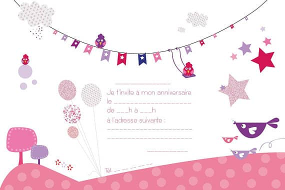 invitations anniversaire enfant oiseaux 8 exemplaires. Black Bedroom Furniture Sets. Home Design Ideas