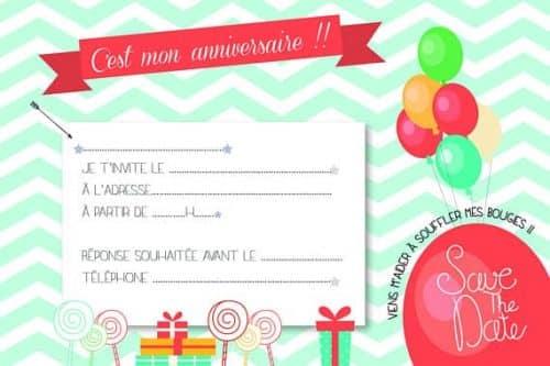 Invitation Anniversaire Enfant Ballons X8