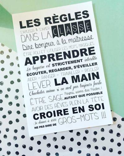 affiche décorative sur les règles à respecter en classe