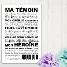 texte décoratif relatif à la témoin de mariage