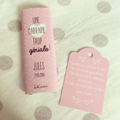 mini tablette de chocolat avec emballage décoré rose