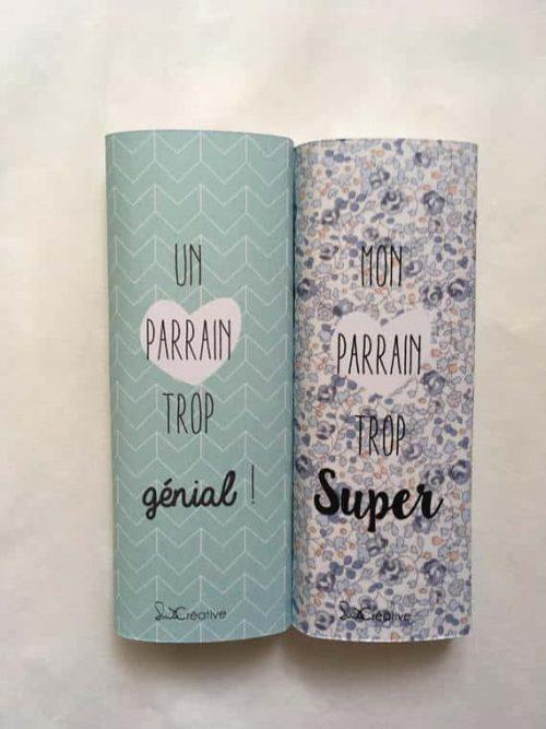 messages personnalisés sur mini barres de chocolat - parrain trop génial
