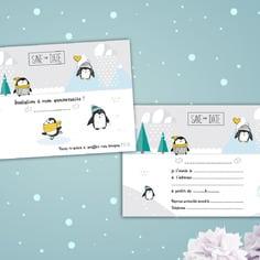 carton invitation anniversaire enfant avec têtes sur le thème des pingouins