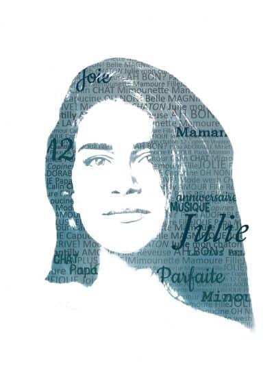 portrait typographique personnalisé Héros de ses histoires