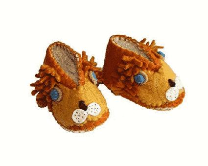 """chausson """"animal"""" fait main en laine pour bébé Héros de ses histoires - lion"""