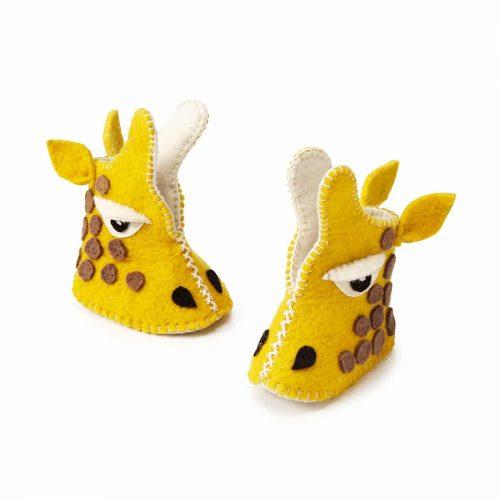 """chausson """"animal"""" fait main en laine pour bébé Héros de ses histoires - girafe"""