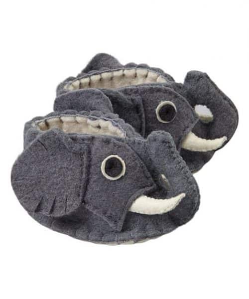 """chausson """"animal"""" fait main en laine pour bébé Héros de ses histoires - éléphant"""