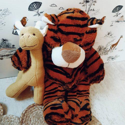 peluche tigre et son doudou