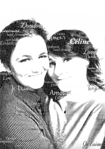 portrait noir et blanc de deux personnes avec des images et des mots
