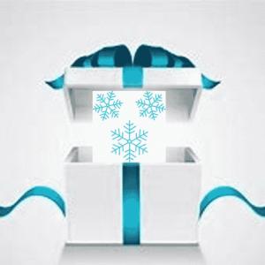 boite cadeau avec flocons de neige