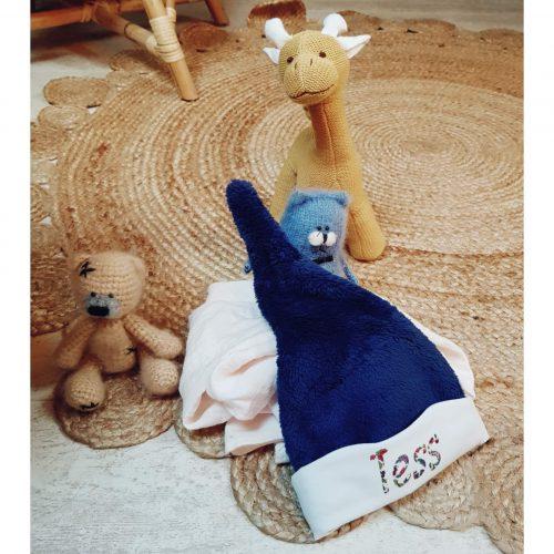 bonnet bébé bleu en polaire