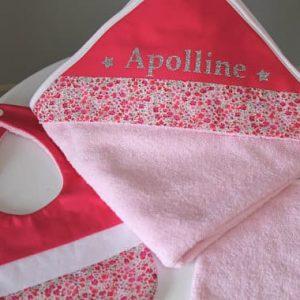 NAISSANCE pack rose bavoir gant serviette
