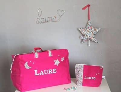 ensemble de deux sacs décorés en rose avec motifs en liberty