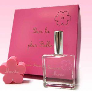 coffret rose parfum enfant à son prénom