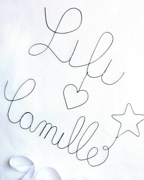 Lili et Camille écrits en fil de fer