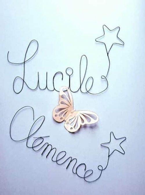 Lucile et Clémence écrits en fil de fer