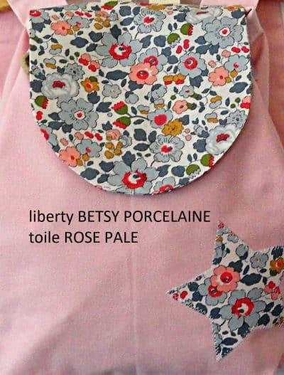 TISSU ROSE PALE et liberty BETSY PORCELAINE
