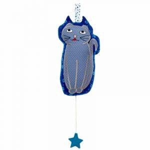 boite à musique pour bébé en forme de chat ton bleu